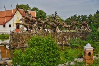 Bronze sculpture with horses in the Garden of the Gods in Muang Boran open air museum in Samut Phrakan near Bangkok, Thailand