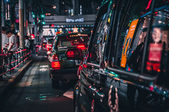 Mid Town Lights (Dave Schaefer) Tags: street streetphotography city cityscape night nightphotography neon reflections tokyo japan japanese asia urban taxi cab car lights