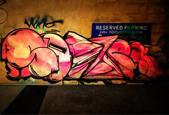 Reserved Parking (Steve Taylor (Photography)) Tags: reservedparking 24hrtowawayarea digitalart graffiti streetart tag sign carpark brown black blue green pink southisland canterbury christchurch cbd city outline