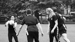 Mixed rugger in the Meadows 03 (byronv2) Tags: blackandwhite blackwhite bw monochrome peoplewatching street candid sport rugger rugby mixedrugby man woman girl meadows edinburgh edimbourg scotland park grass shorts legs play playing