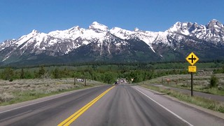 Driving to Jenny Lake on Teton Park Road in Grand Teton National Park