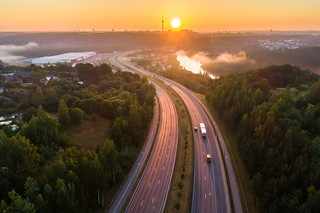 Road to Vilnius in early morning aerial view