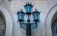 2018 - Romania - Bucharest - Light Trio (Ted's photos - For Me & You) Tags: 2018 bucharest nikon nikond750 nikonfx romania tedmcgrath tedsphotos vignetting lightfixture light streetlight trio three lamps lamp wall arches bucuresti