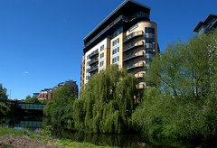 tall building by the waterway in Leeds (Tony Worrall) Tags: update place location uk england north visit area attraction open stream tour country item greatbritain britain english british gb capture buy stock sell sale outside outdoors caught photo shoot shot picture captured leeds yorks yorkshire city green water waterway tall scene scenic spring season wet trees nature urbannature arch building architecture flats home beauty nice