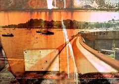 Paint streaked stern and gunwale. (PAUL YORKE-DUNNE) Tags: rusty boat layered stern toprail