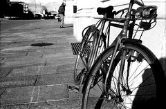 (Davide Zappettini) Tags: street city people bicycle filmphotography filmbw bw bianconero blackandwhite fp4 ilford fidenza davidezappettiniphotography