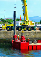 Scotland Greenock docks a steel support being fitted to a work barge 6 June 2018 by Anne MacKay (Anne MacKay images of interest & wonder) Tags: scotland greenock docks steel dock work barge crane workmen xs1 6 june 2018 picture by anne mackay support