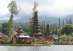 Pura Ulun Danu Bratan, Bali (scinta1) Tags: bali bedugul lake bratan danau water waterscape scenery trees temple cloudy weather sky meru pura mist hindu colour