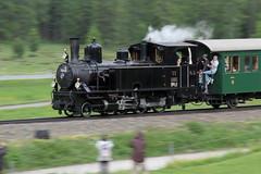 Rhätische Bahn RhB Dampflokomotive G 3/4 11 mit Taufname Heidi ( Hersteller SLM Nr. 1476 - Baujahr 1902 - Gehört Club 1889 - Dampflok Lokomotive Triebfahrzeug ) mit Dampfzug bei Pontresina im Engadin im Kanton Graubünden - Grischun der Schweiz (chrchr_75) Tags: albumzzz201806juni juni 2018 hurni christoph schweiz suisse switzerland svizzera suissa swiss chrchr chrchr75 chrigu chriguhurni chriguhurnibluemailch zug train juna zoug trainen tog tren поезд lokomotive паровоз locomotora lok lokomotiv locomotief locomotiva locomotive eisenbahn railway rautatie chemin de fer ferrovia 鉄道 spoorweg железнодорожный centralstation ferroviaria kanton graubünden grischun rhb rhätische bahn bahnen meterspur schmalspur bergbahn retica viafier kantongraubünden albumbahnenderschweiz albumbahnenderschweiz20180106schweizer treno fest eisenbahnfest festival 10 jahre unesco welterbe