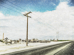 Discarded (p) (davidseibold) Tags: america cloud drivebyphotography farmequipment hwy119 iphoneography jfflickr painting phoneshot photosbydavid postedonflickr powerpole sky tractor unitedstates usa