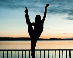 Raising my Leg in praise (Aaron A Baker) Tags: tacoma dancers random girls street photography lucky sunset puget sound pacific ocean bay