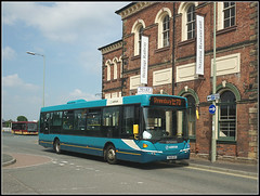 Arriva Midlands 3508 (Jason 87030) Tags: station building restaurant banners turquoise 70 salop shresbury shropshire oswestry border town uk work scania omnilink bus arriva blue 3508 yn08hzv sony alpha ilce a6000 lens tag publictransport shot session museum