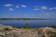 Volga from the limestones (МирославСтаменов) Tags: russia zhiguli mogutova mountain hill limestone ledge overlook volga river cloudscape rocks