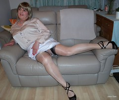 Stretchy (janegeetgirl2) Tags: transvestite crossdresser crossdressing tgirl tv ts stockings heels garters nylons glamour lingerie white satin skirt blouse stilettos fully fashioned highheels bra mini rht short