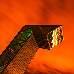 Mirador (Pimenthe) Tags: building architecture urban abstract sky nght night minimal aesthetic art reflect reflections steel metal structure simple city cityscape orange colorful light bright long exposure france bordeaux graphic