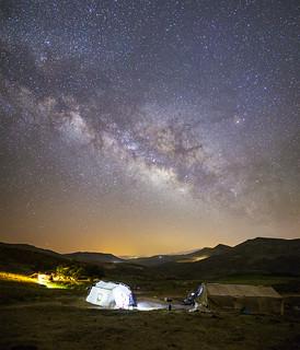 Three Qashqai Kashkuli nomadic tents under the starry sky