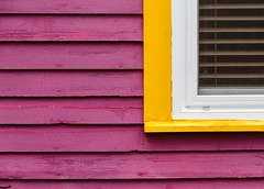 Painted Purple (Karen_Chappell) Tags: window wood wooden paint painted yellow white trim purple house jellybeanrow rowhouse stjohns newfoundland nfld canada atlanticcanada eastcoast avalonpeninsula downtown city urban building architecture lines geometry geometric abstract clapboard