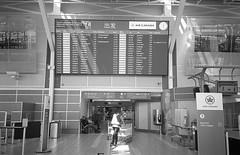 Under the Big Board (Yutaka Seki) Tags: yvr vancouverinternationalairport aircanada aviation flightboard domesticflights worker working luggagecarts gate entrance light ray blackandwhite bw film analogue homedeveloped blazinal rodinal firstroll ilfordhp5plus400 olympusxa2