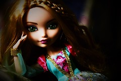 """in the shadow of the castle walls"" (jessandgrace) Tags: doll portrait closeup colorimage colors green pink hand figure face eyes greeneyed lips hair braids ginger blonde golden ashlynnella everafterhigh eah pretty beauty glamour cute indoor"