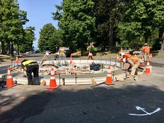 SDOT Concrete Crew just delivered a big ol' shiny new traffic calming circle to the neighborhood at 20th & Main. (Seattle Department of Transportation) Tags: seattle sdot transportation concrete crew new traffic calming circle neighborhood 20th main slowdown control construction