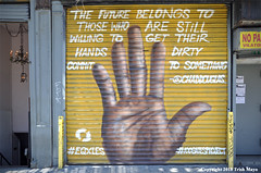 Talk To The Hand (Trish Mayo) Tags: securitygate paintedgate hand mural 100gatesproject lowereastside eqxles chaddouglas