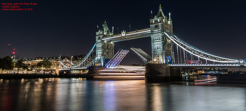 Boat goes under The Tower Bridge