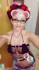 I love dressing up for festivals ^_^ (liquidpopqt6969) Tags: edc raver raverbooty glasses nerdy hotnerd hazeleyes cateyes blackfishnets piercings tattoos kandykid jeanshorts hippy pale purplehair glitter