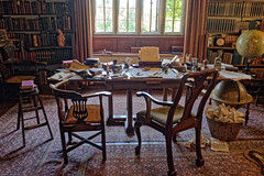Rudyard Kipling's Desk (Geoff Henson) Tags: rudyardkipling author poet desk chair furniture window globe pens paper pipe carpet books