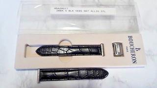 LADIES BOUCHERON REFLET SMALL STEEL BLACK ALLIGATOR BAND STRAP (17X14)     *6488