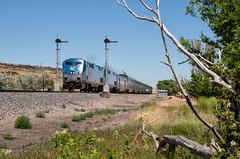 High Time at Wagon Mound (Wheelnrail) Tags: wagon mound new mexico train trains ge p42dc locomotive railroad rail road rails passenger southwest chief semaphore signals signal amtk summer sunny