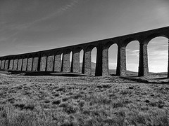 Ribblehead Viaduct (Carol Crook) Tags: ribblehead viaduct ingleborough dales bandwhite bandw bw monochrome railway yorkshire bridge architecture