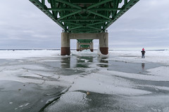 Child on shoulders on slippery ice on the dangerous Straits of Mackinac in a fine spray of road filth cast down from the sides of I-75. (Tim Kiser) Tags: 2018 20180310 emmetcounty emmetcountymichigan greatlakes greatlakesice greatlakeslandscape i75 img0575 interstate75 lakehuron lakehuronice lakehuronlandscape mackinacbridge mackinacbridgelandscape mackinawcity mackinawcitymichigan mackinawcitylandscape march march2018 michigan michiganlandscape straitsofmackinac straitsofmackinacice straitsofmackinaclandscape bridge bridgelandscape bridgesupports childonshoulders footprints footprintsinsnow frozenlakehuron frozenlake ice iceandsnow icelandscape icylandscape interstate interstatebridge interstatehighway interstatehighwaysystem longbridge northmichigan northernlowerpeninsula northernmichigan northernmichiganlandscape people peopleonice peoplewalkingonice snow snowandice snowylandscape underabridge underthemackinacbridge walkingonice winter winterlandscape