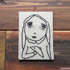 Aceo Original Girl With Crow Embroidery Art (They Come Along) Tags: art aceo aceoart girl girlart girlaceo miniatureart myart crow crowart girlwithcrow embroidery embroideryart fiberart girlembroidery crowembroidery