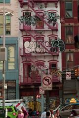New York Graffiti (jomak14) Tags: fotodioxproeostom43adapter manhattan manualfocus microfourthirds murals nyc newyork omtoeosadapter olympusep2 panasonic streetart urbanart vintagelens zuiko55mmf12 streetsign fireescape soho peopleonthestreet