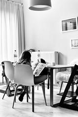 Going Chinese (kceuppens) Tags: maxine reading lezen book comic strip sunday nikond7000 nikon d7000 nikkor 35mm nikkor3518dx black white blackandwhite bw zwart wit zw thuis home