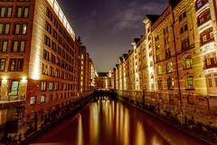 But Goldy (mtop.hh) Tags: lights night hamburg classic river marktominski water reflections city hdr metropolitan speicherstadt