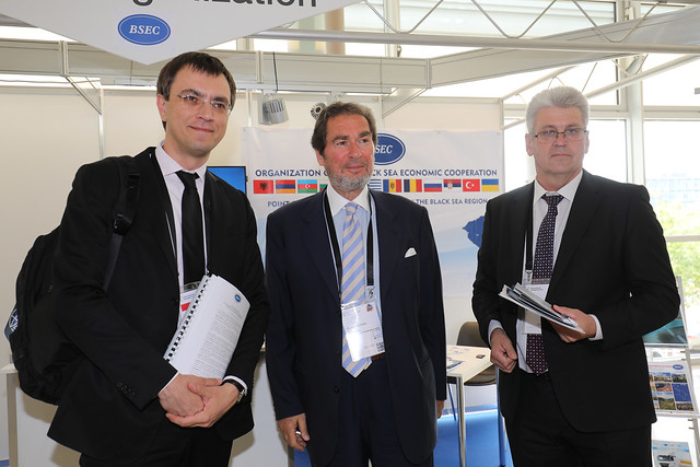 Volodymyr Omelyan, Michael B. Christides and Yevgen Koziy at the BSEC stand