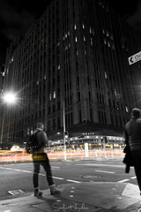1st time trying street photography (StefanKleynhans) Tags: street photography night selective colour yellow red orange blackandwhite blackwhite bw light person longexposure cars lighttrails city sydney australia nsw people ghost candid contrast