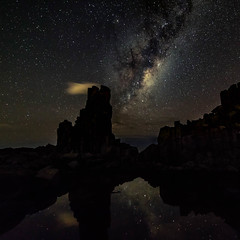 Smoking rock || Bombo (David Marriott - Sydney) Tags: bombo newsouthwales australia au smoking cloud nightscape night astro star reflection milky way long exposure kiama illawarra coast water