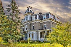 Plattsburgh New York -  W. W. Hartwell House & Dependencies - AKA - Regina Maria Retreat House  - Brinkerhoff Street (Onasill ~ Bill Badzo) Tags: clintoncounty plattsburgh newyork ny w hartwell house dependencies mansion aka regina maria retreat historic nrhp architecture style 1870 stone elaborate mansard roof second empire victorian park landscape cottage carriage seat town attraction tourist travel hudsonriver onasill canon sl1 sigma 18250mm macro lens tower window tree sky grass clouds historical vacation saranaclake lakeplacid hdr