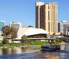 Popeye with the intercontinental and festival centre in the background. (|Sarah|) Tags: intercontinetal riverbank festivalcentre river photography canon 1200d popeye rivertorrens intercontinental australia adelaide boat canon1200d