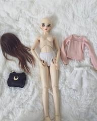 Getting her ready (ArcticFawn) Tags: bjd abjd superdollfie volks girl fcs head f05 old f08 sd sd13 kaleidoll balljointed doll alpaca wig