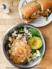 Something Healthy Salad with Vegan Fried Egg (Bitter-Sweet-) Tags: vegan food savory healthy salad bowl avocado greens vegetables bay area california oakland cafe fresh chilled chickpeas tahini whole foods lunch entree hearty thebutchersson eggless dairyfree cheese feta