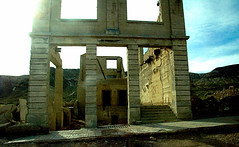 Bank Ruins, Rhyolite Nevada (EmperorNorton47) Tags: rhyolite nevada photo digital spring sunset lateafternoon building bank ruins ghosttown