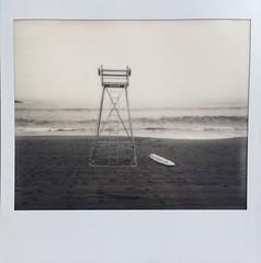 Biarritz Beach. (miroir.photographie) Tags: surfing monochrome france biarritz filmisnotdead istillshootfilm spectra spectrapro polaroid