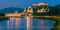 Salzburg - Austria (~ Floydian ~ ) Tags: henkmeijer floydian photography salzburg austria salzburgfortress festunghohensalzburg hohenwerfencastle sunset evening dusk salzachriver cityscape citylights twilight bluehour canon canon5dmarkiv
