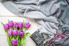 156/365: A few shades of grey...and purple (judi may) Tags: 365the2018edition 3652018 day156365 05jun18 tulips book pearls pashmina flowers freshwaterpearls grey gray purple flatlay canon5d 50mm stilllife