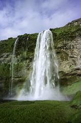 Seljalandsfoss (hiphopmilk) Tags: copyright©jaredyehwooehmoehfilms nikonfm2n nikonfm2 nikon fm2 35mm 135film film analog analogue kodak nikkor hiphopmilk north europe nordic iceland waterfall seljalandsfoss suðurland þórsmörk þórsmerkurvegur rainbow