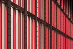 Red interplay of lines (Jan van der Wolf) Tags: map184456v red redrule rood lines lijnen lijnenspel interplayoflines playoflines station stationantwerpen architecture architectuur herhaling repetition abstract perspective perspectief ramen windows rhythm visualrhythm ritme