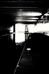 Untitled. (ianmiller6771) Tags: urbancanal water reflections graffiti menace streetphotography streetphotographyuk blackandwhite whiteblack monochrome fuji dark gloom lightanddark
